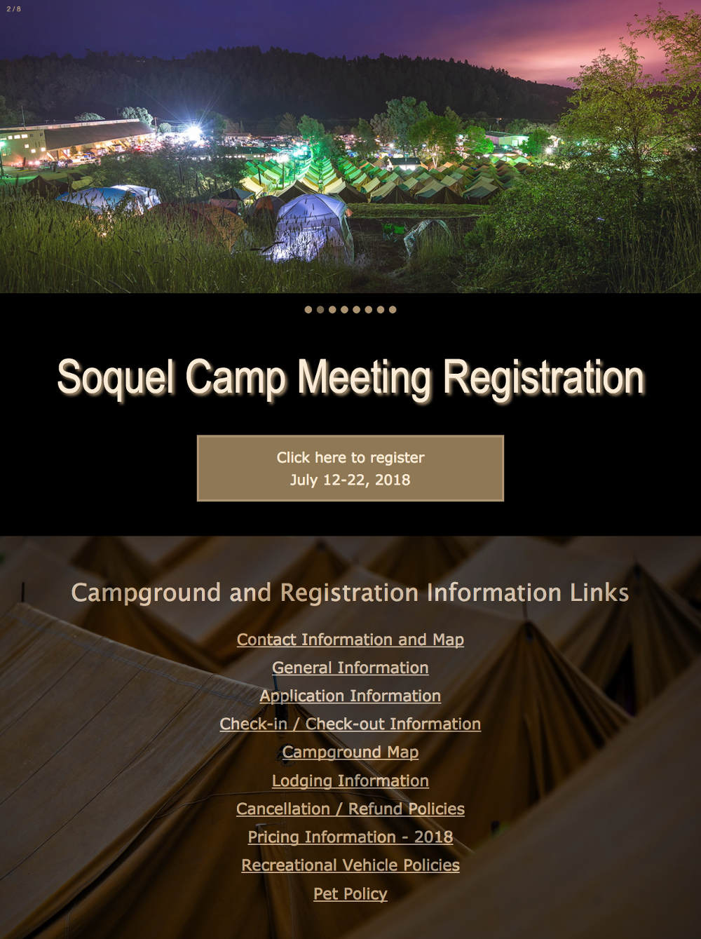 Soquel Camp Meeting registration landing page