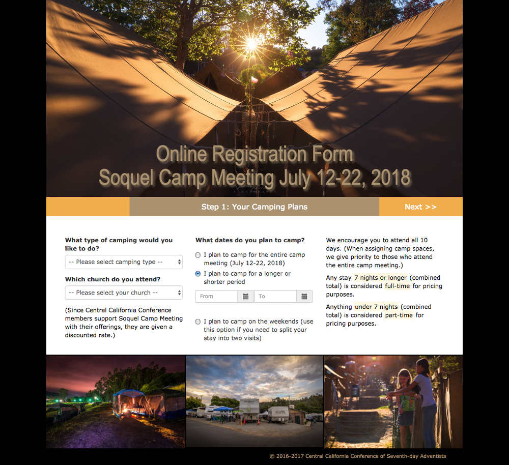 Soquel Camp Meeting online registration form page 1