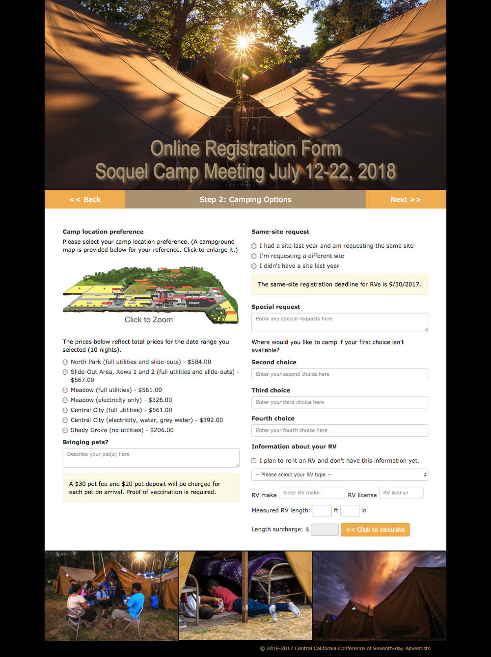 Soquel Camp Meeting online registration form page 2