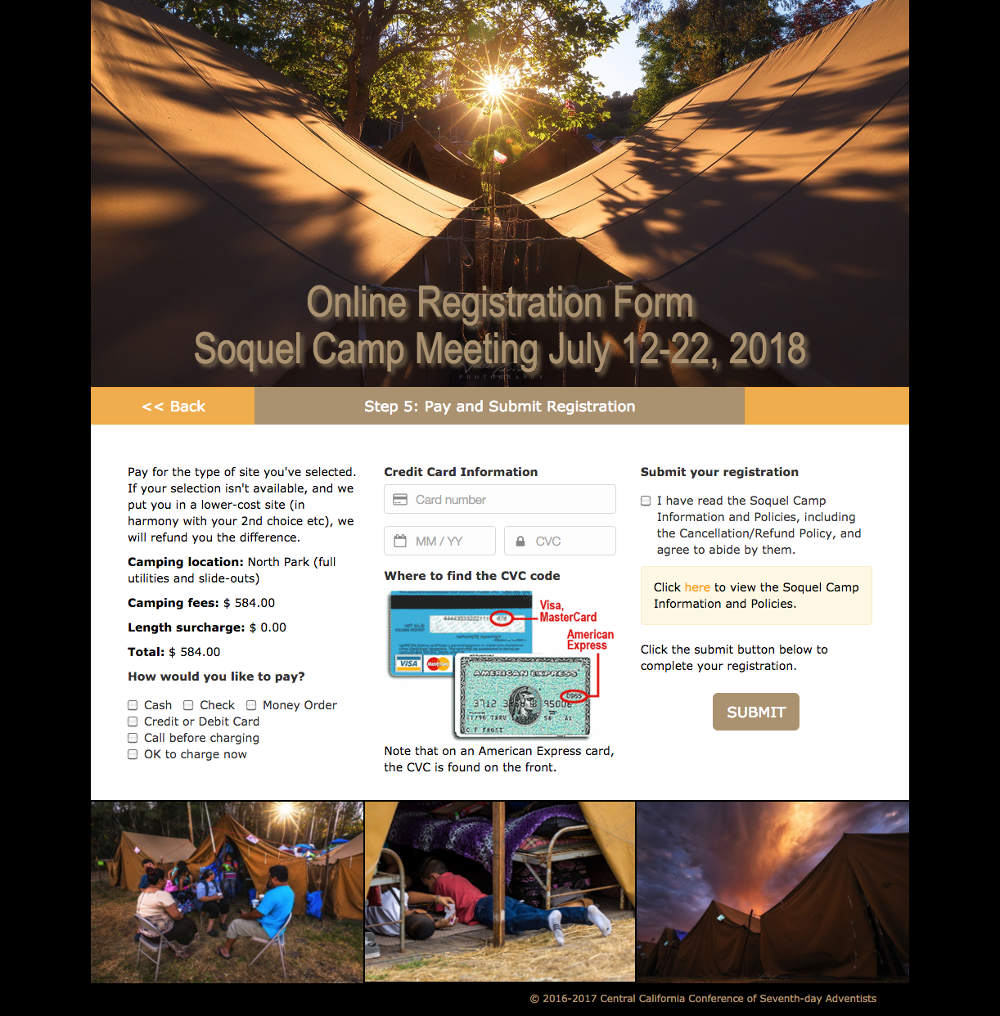 Soquel Camp Meeting online registration form page 5