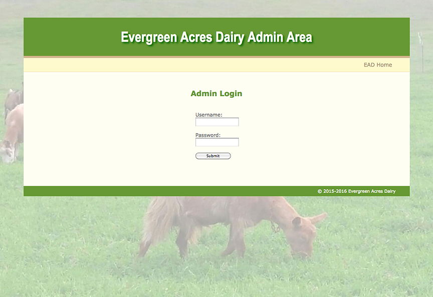 Evergreen Acres Dairy admin login page