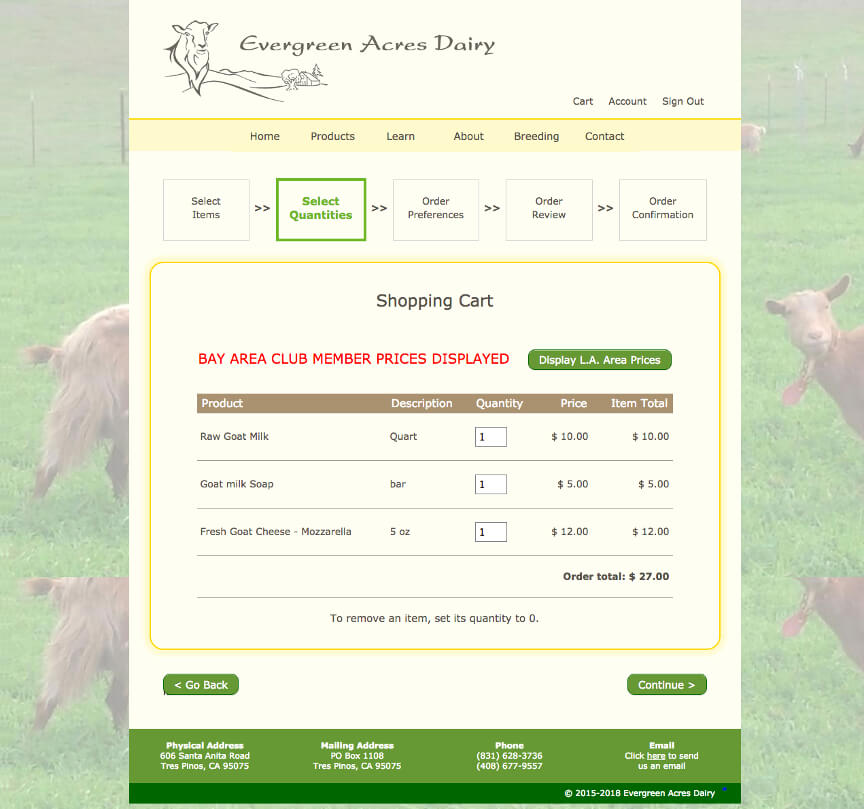 Evergreen Acres Dairy shopping cart