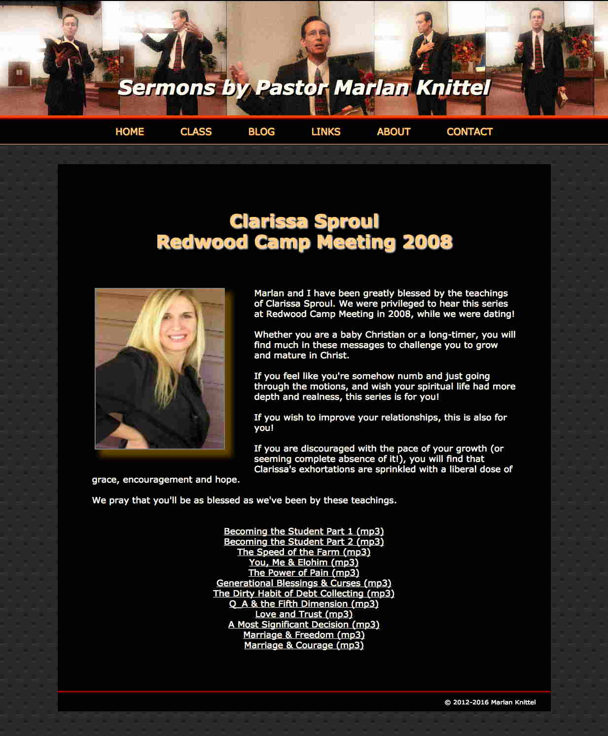 Clarissa Sproul page of PastorMarlanSermons.com